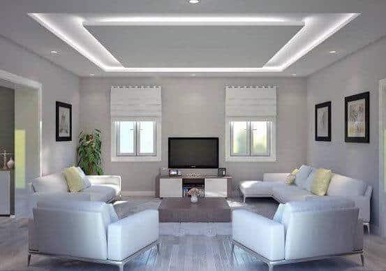 White ceiling for white living room.
