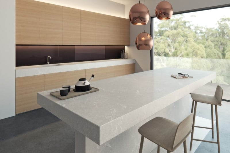 countertop idea with seamless cabinet handles