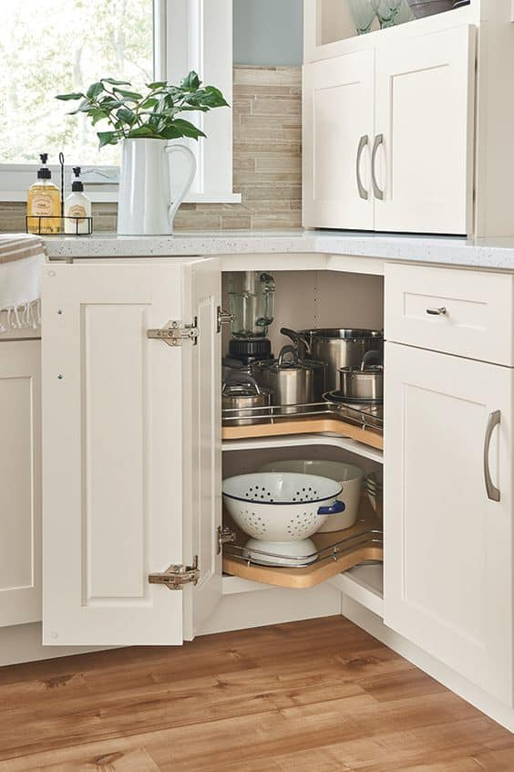corner cabinet for small l-shaped modular kitchen