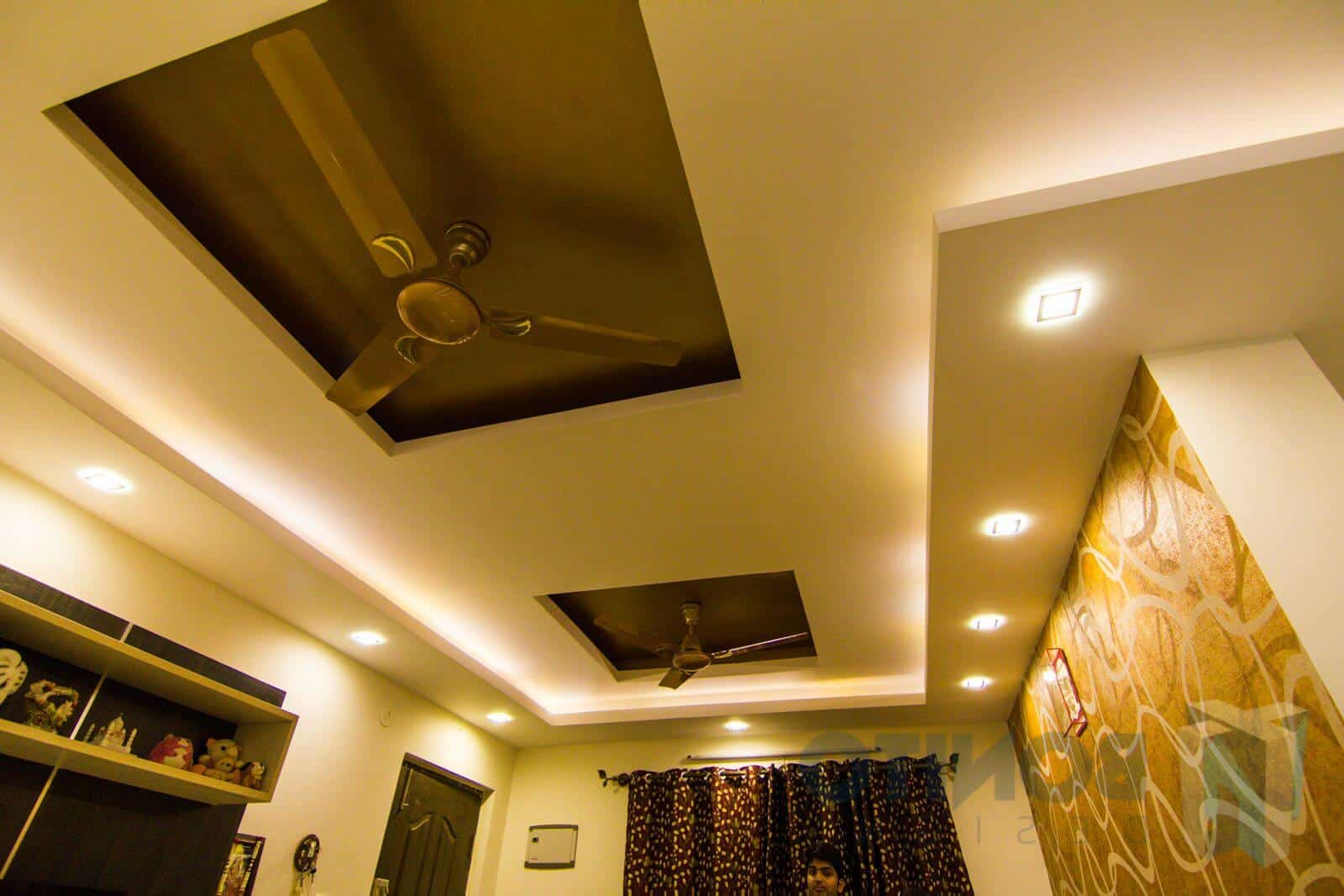 false ceiling design for living rooms with 2 fans