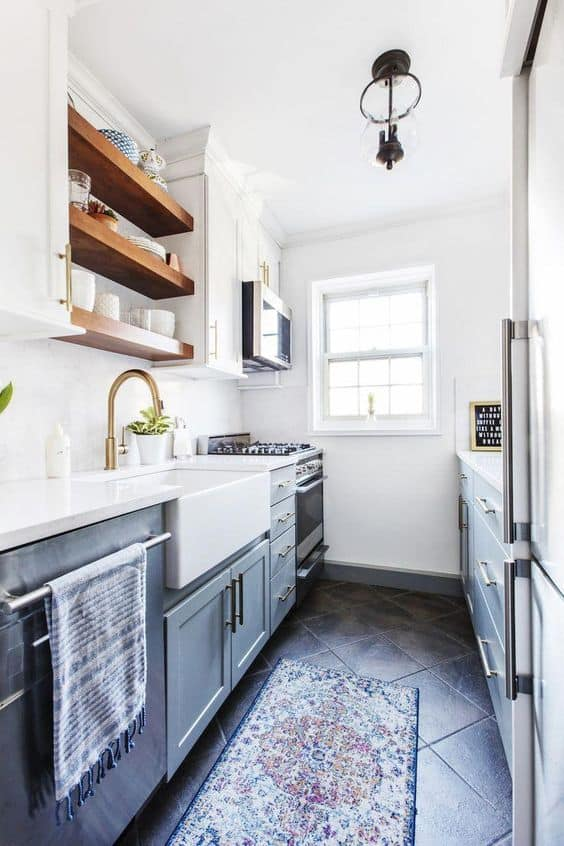 galley-shaped small modular kitchen
