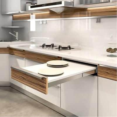Rails in modular kitchen cabinets