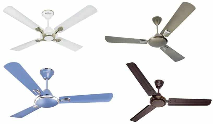 Basic ceiling fan colours in white grey brown and blue shades