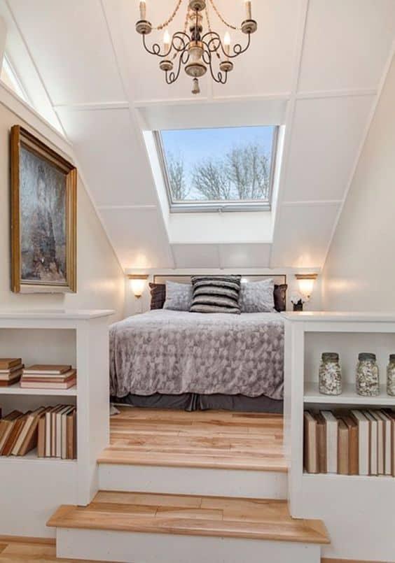sloping skylight false ceiling design for bedroom