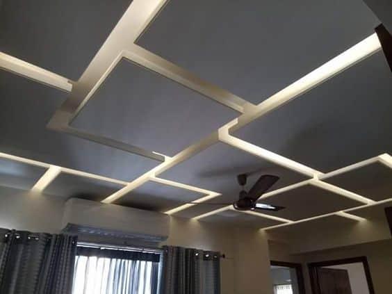 square shaped false ceiling design for bedroom