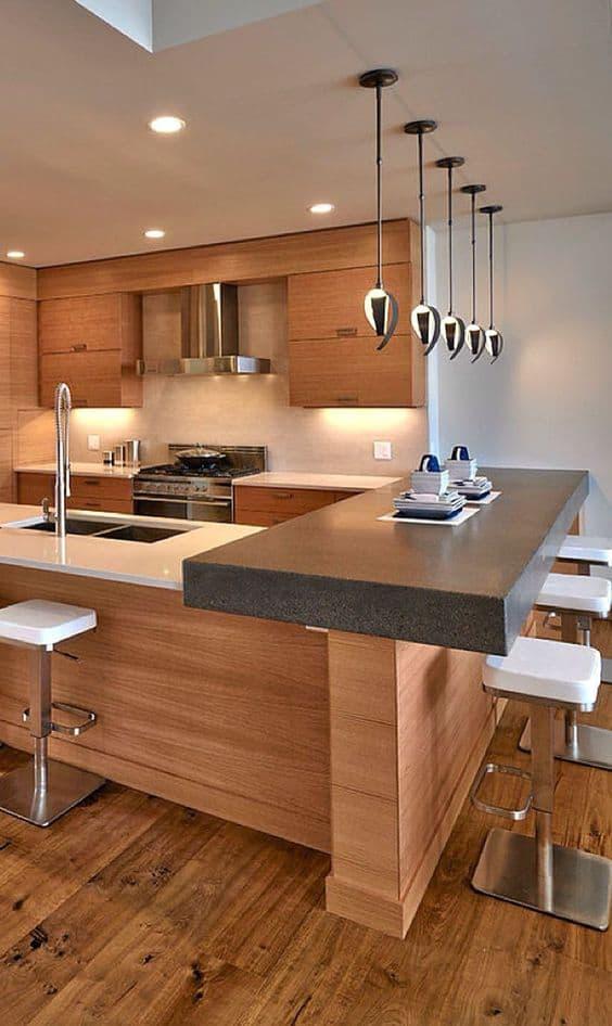 White and wooden modular kitchen deisgn