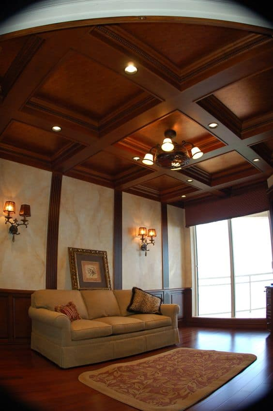 coffered wooden false ceiling