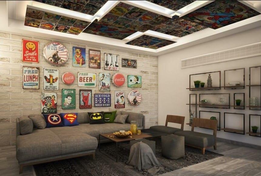 comic themed interior design