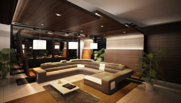 dark wood false ceiling