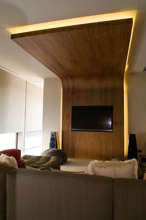 extended panel wooden false ceiling
