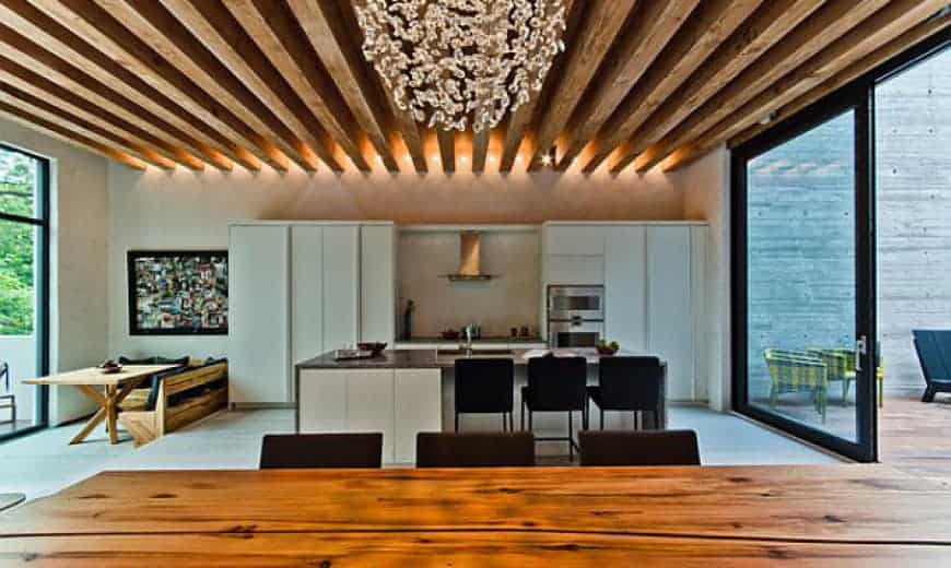 wooden planks on ceiling