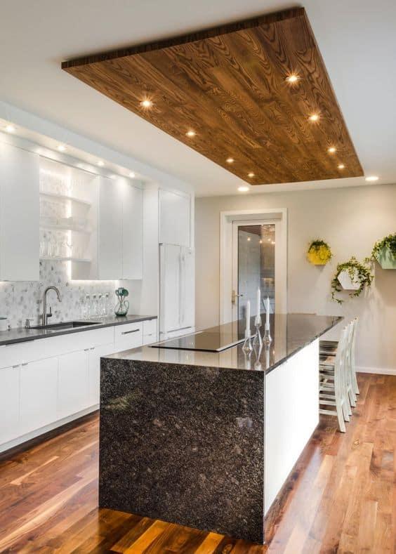 kitchen wooden false ceiling