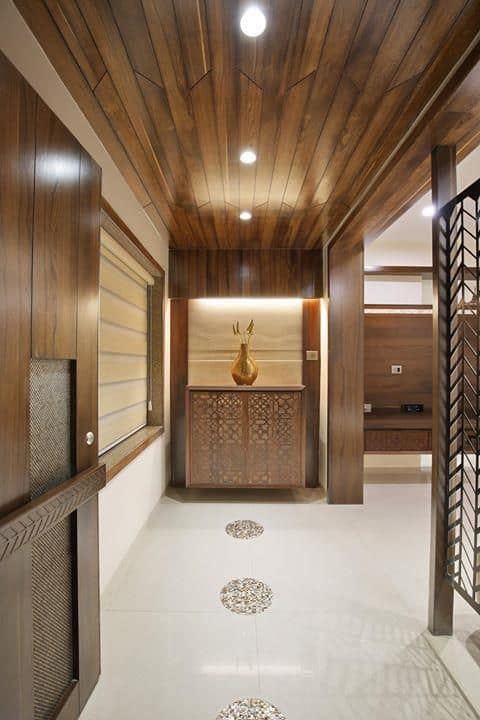corridor wooden false ceiling designs