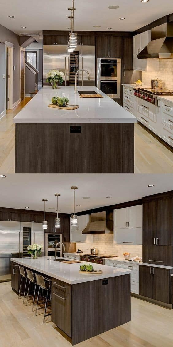 simple ceiling for a big modular kitchen