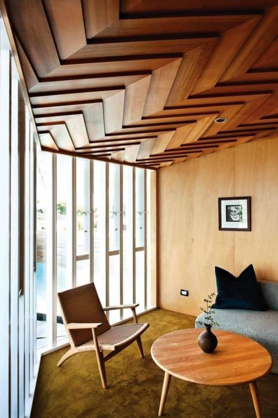 zigzag wooden ceiling