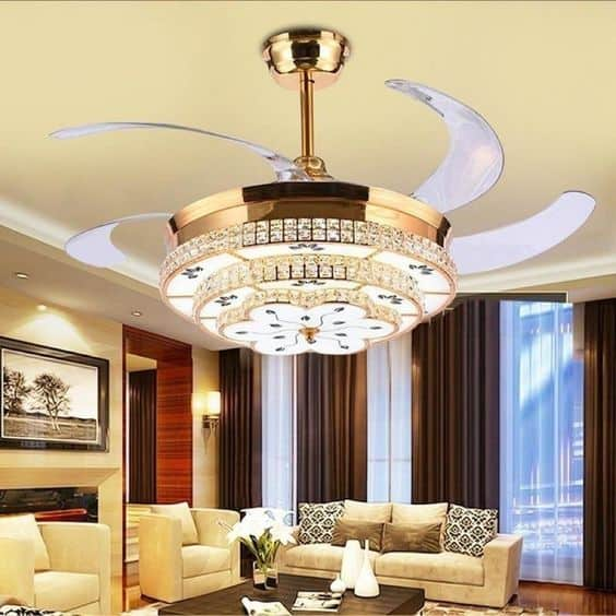 chandelier with ceiling fan for living room