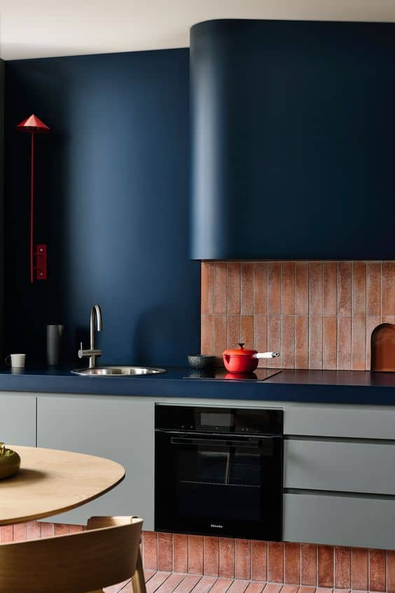 blue table top for kitchen with blue interiors