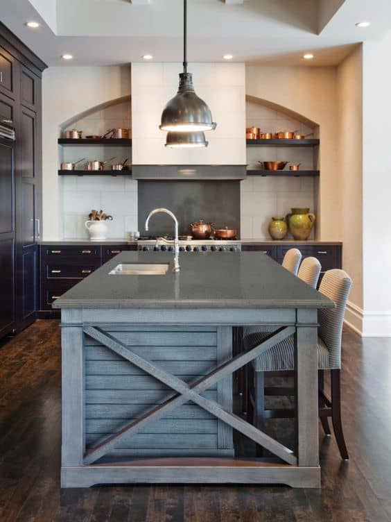 grey stone tabletop for kitchen with traditional look