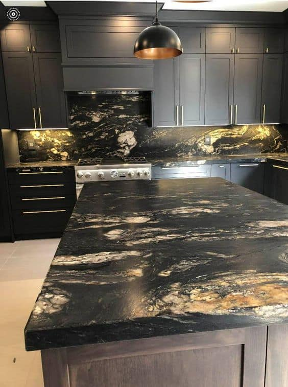 black textured granite with cabinets