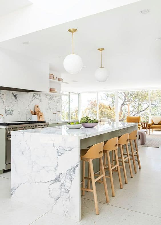 full marble surface with white floor