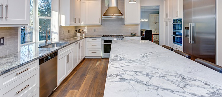 textured Marble with wooden flooring