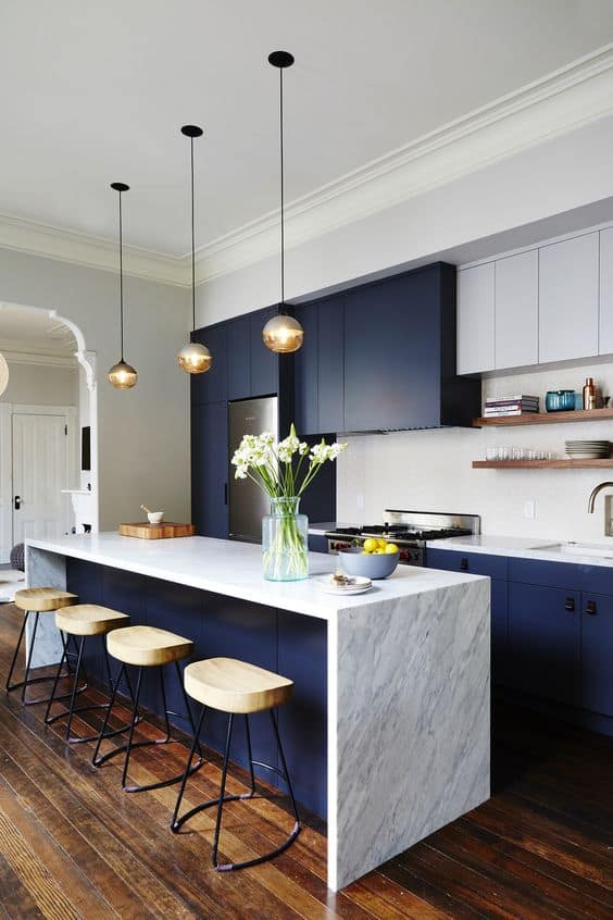 marble tabletop with blue and white interiors