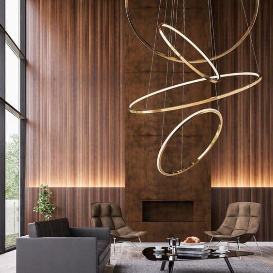 modern chandelier in golden ring design for living room