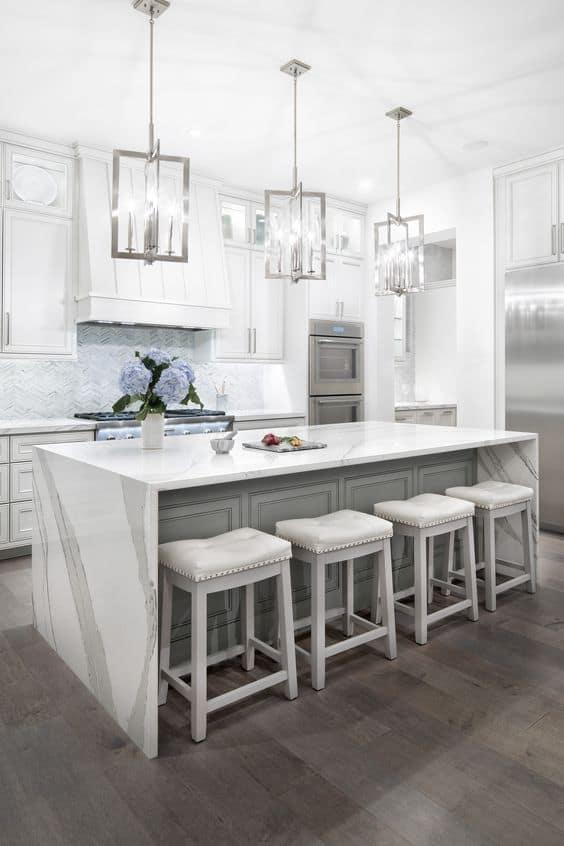 white quartz countertop for kitchen with pendant lights