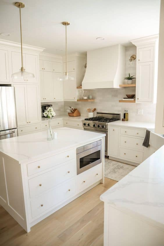 plain white center countertop designs for kitchen with white furniture, and interiors