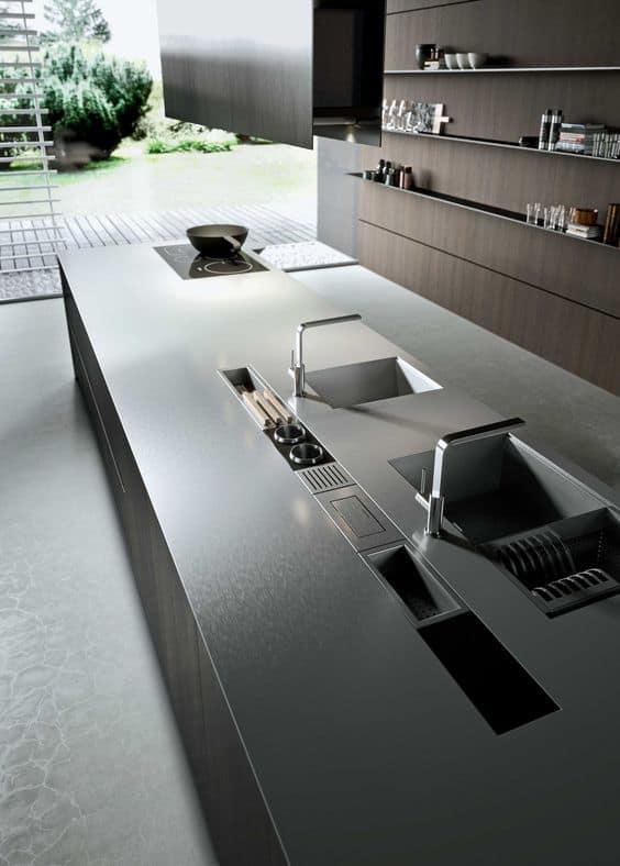 steel kitchen countertop designs for a big kitchen