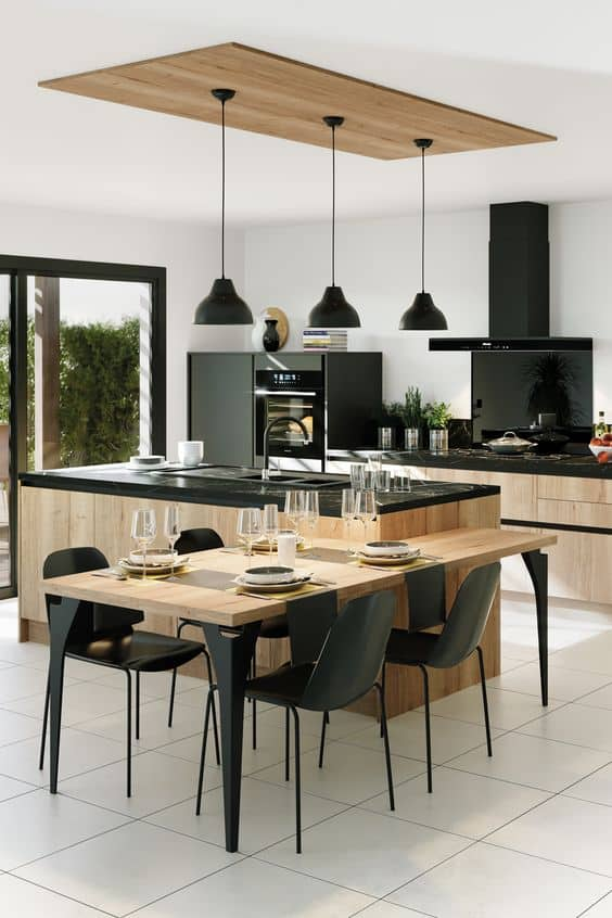 wooden countertop designs with granite slab for kitchen with black chimney and pendant lights