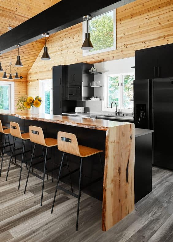 wooden countertop with black table, cabinets, and interiors