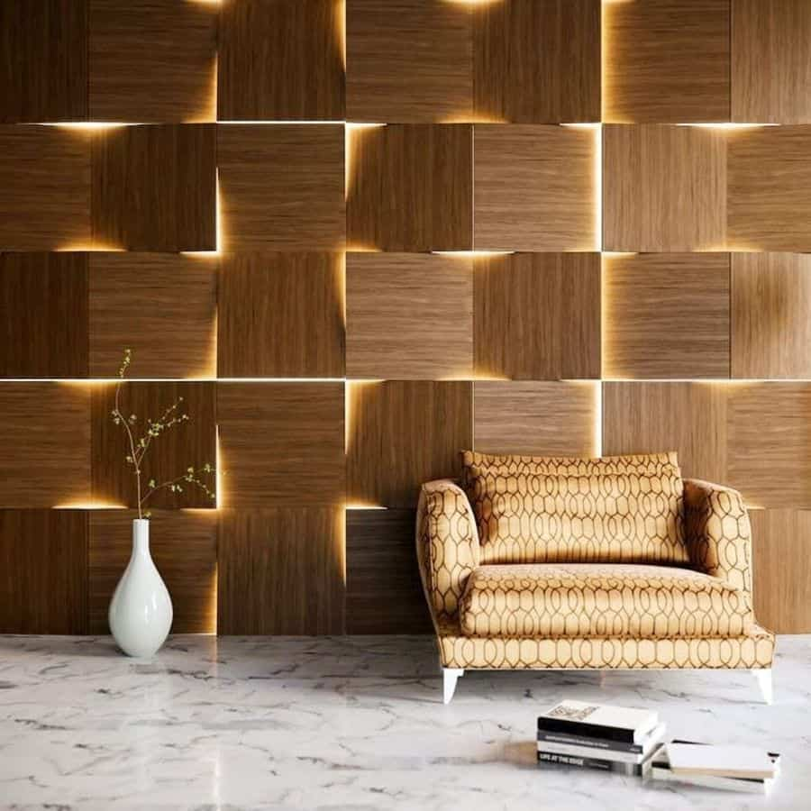 Wall with wood planks and concealed lights