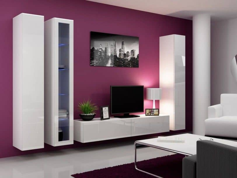 simple painted tv wall design