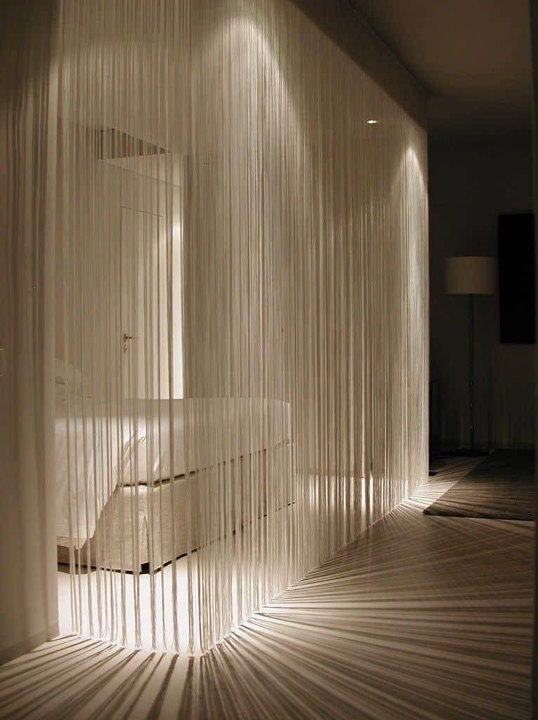 backlit string partition walls