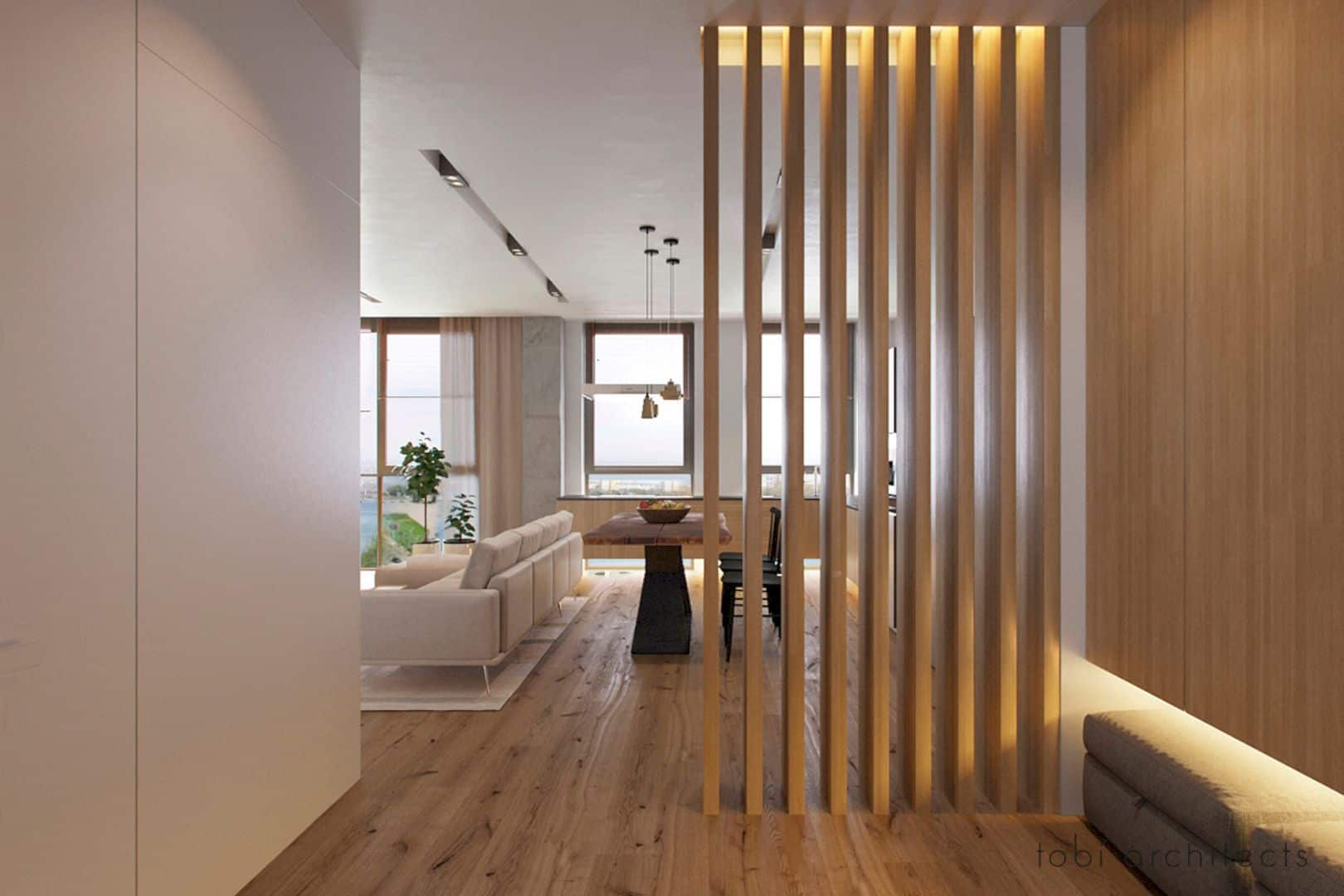 wood panel partition walls