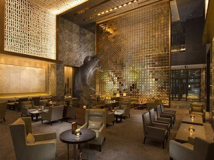 gold feature wall for restaurant