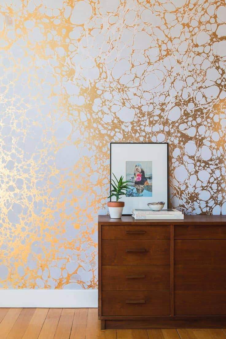 Luxurious wallpaper design with gold accents