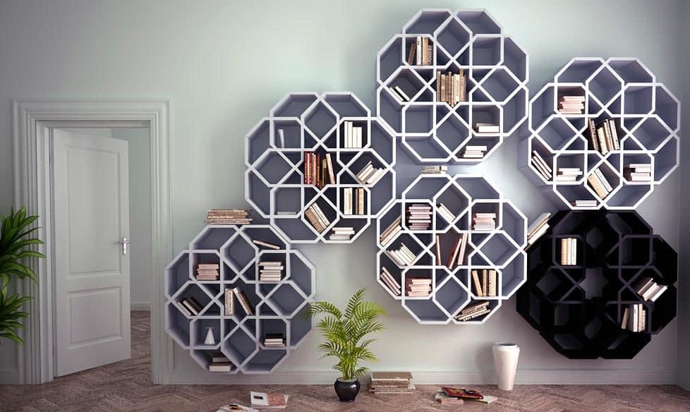 moroccan bookshelf on wall