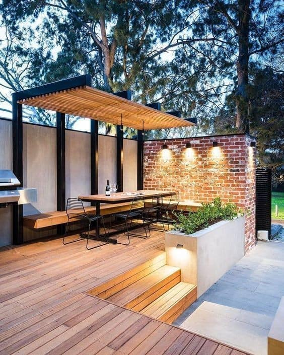 compound wall design with brick wallpaper