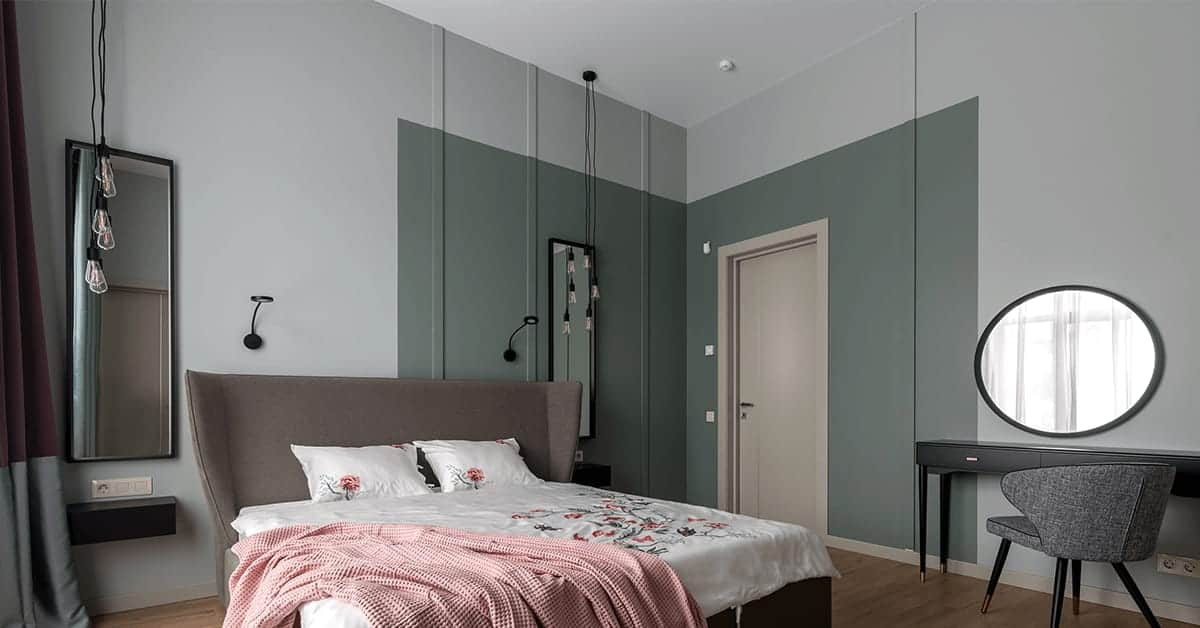 bedroom wall design in contrasting shades of green
