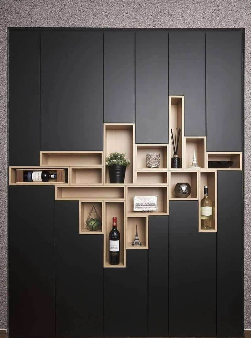 black wall design with storage space