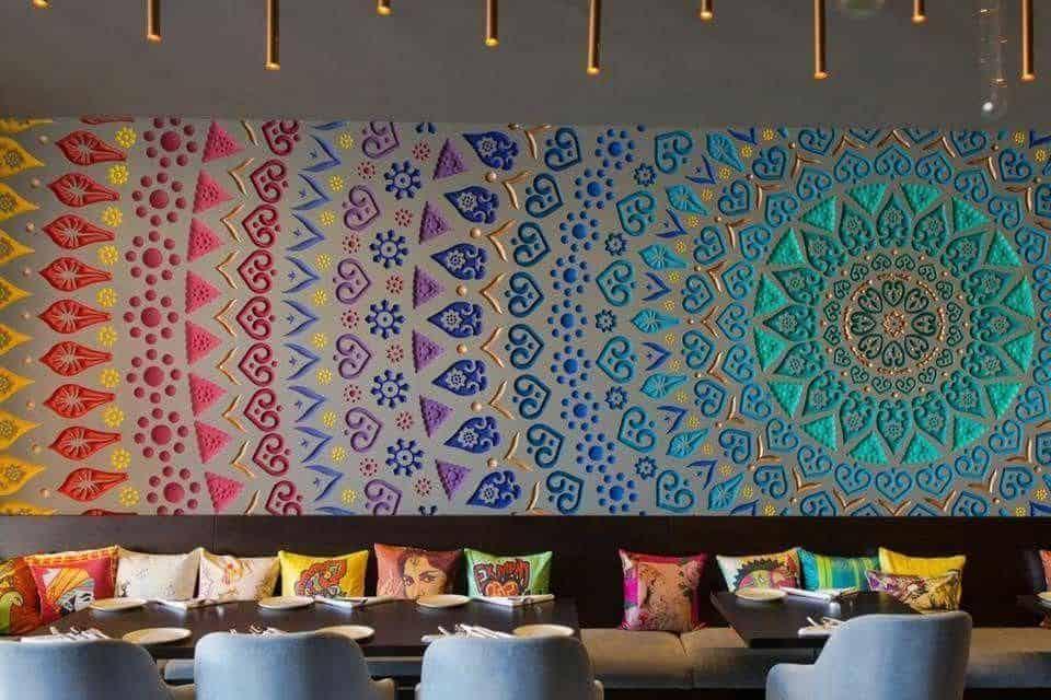 colorful mandala artwork on restaurant wall