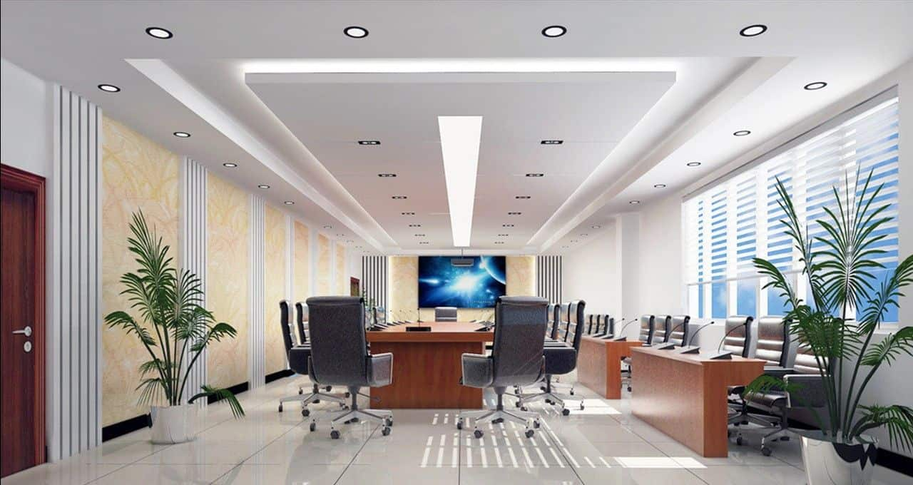 wall design with wallpaper for office