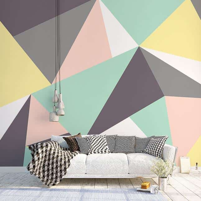 colorful geometric wall paint design using painter's tape