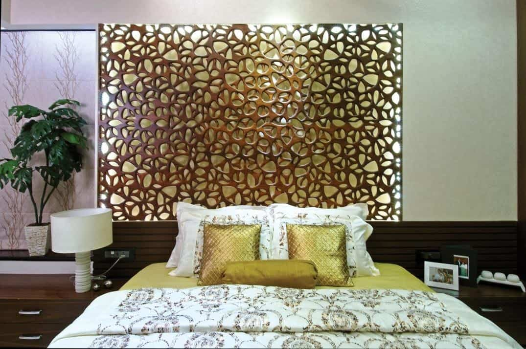 jaali wall for bedroom with concealed lighting