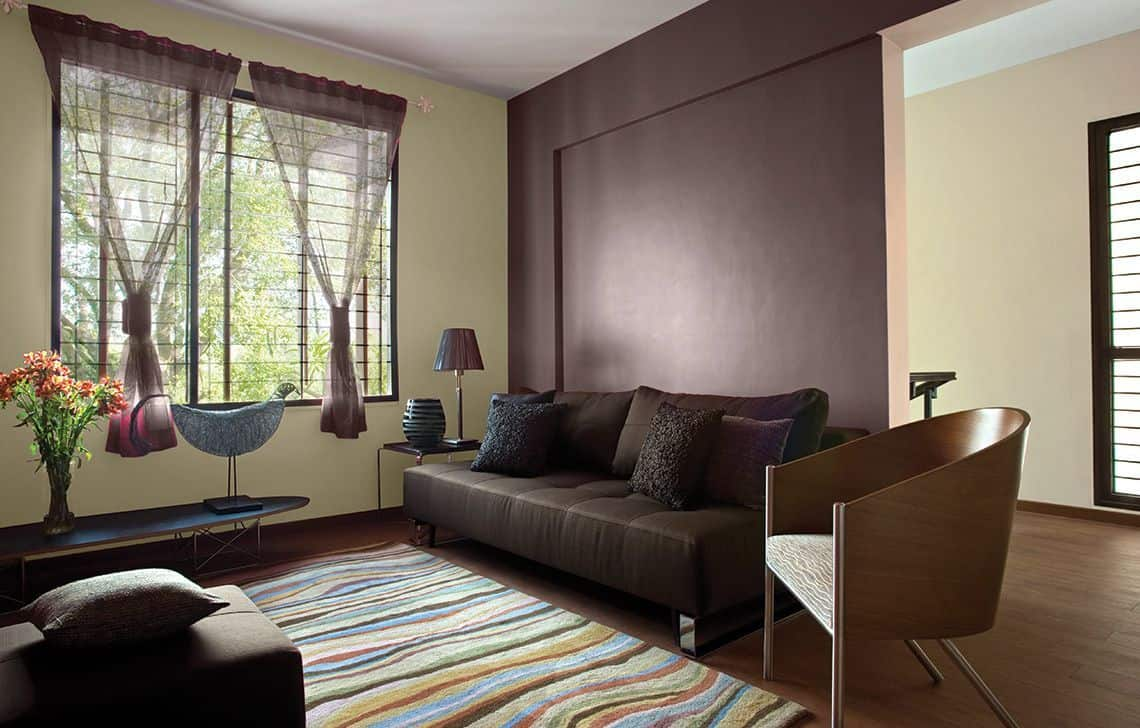 pale yellow and brown wall paint design for living room