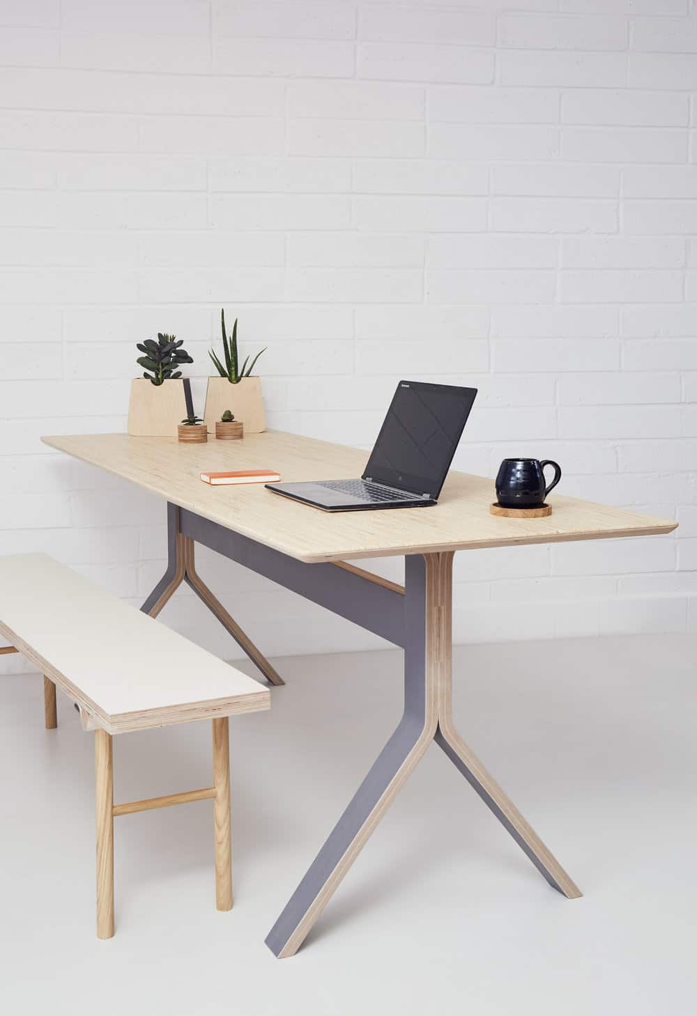 office plywood table with a computer