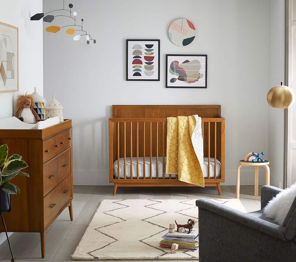 brown mid-century 4-in-1 convertible cot
