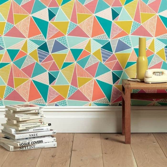 fun and colorful diagonal patterns on a wall
